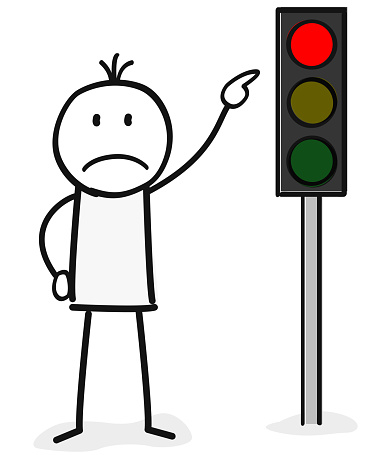 person show on a red traffic light